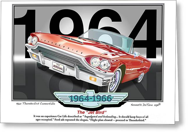 1964 Thunderbird Greeting Card by Kenneth De Tore