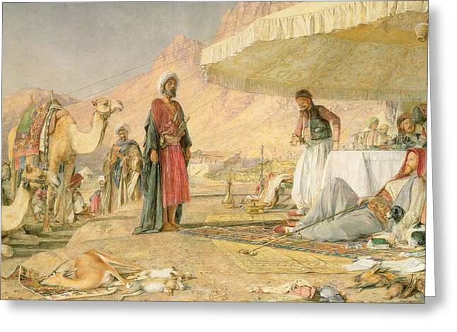 A Frank Encampment In The Desert Of Mount Sinai Greeting Card