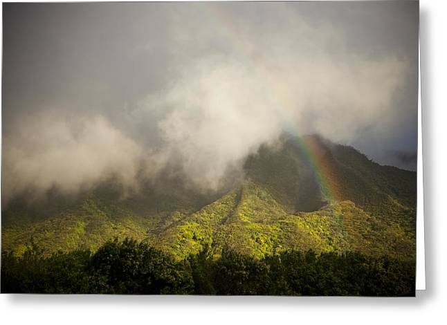 A Rainbow Shines Over The Rugged Greeting Card by Taylor S. Kennedy