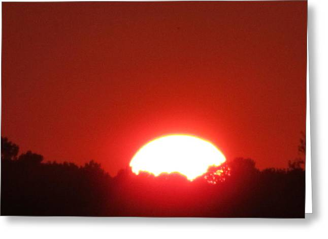 Greeting Card featuring the photograph  A Very Red Summer Sunset by Tina M Wenger
