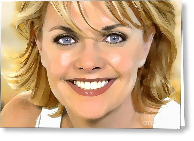 Amanda Tapping Portrait A Greeting Card by Andre Drauflos