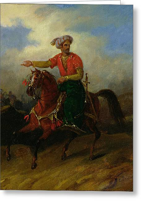 An Ottoman On Horseback  Greeting Card by Charles Bellier