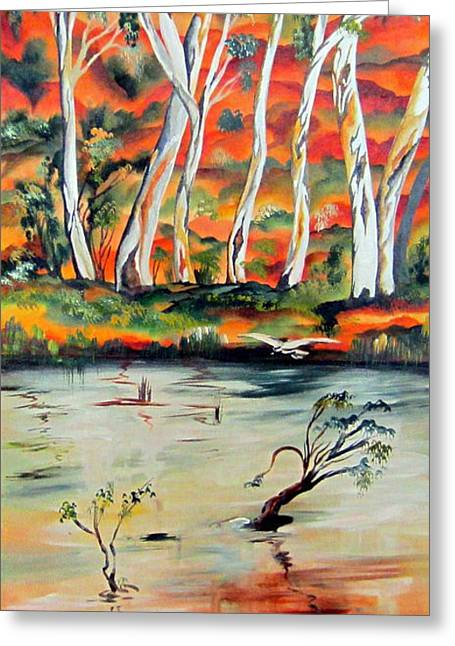 Greeting Card featuring the painting  Aussiebillabong by Roberto Gagliardi
