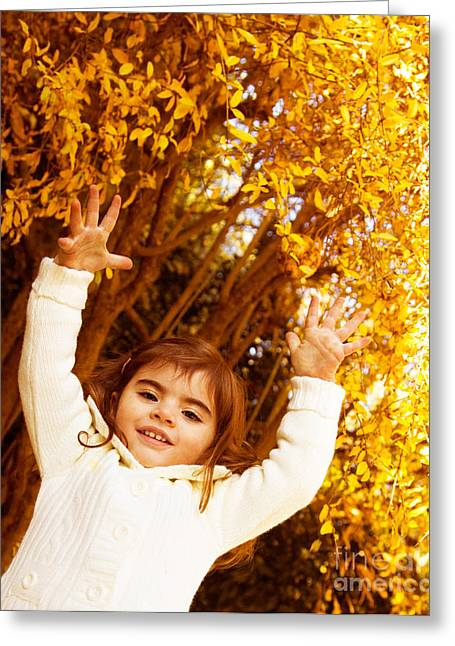 Baby Girl In Autumn Park Greeting Card by Anna Om