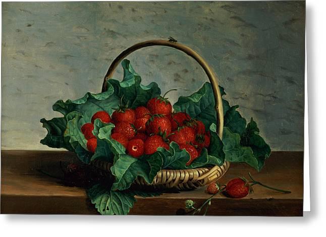 Basket Of Strawberries Greeting Card by Johan Laurents Jensen
