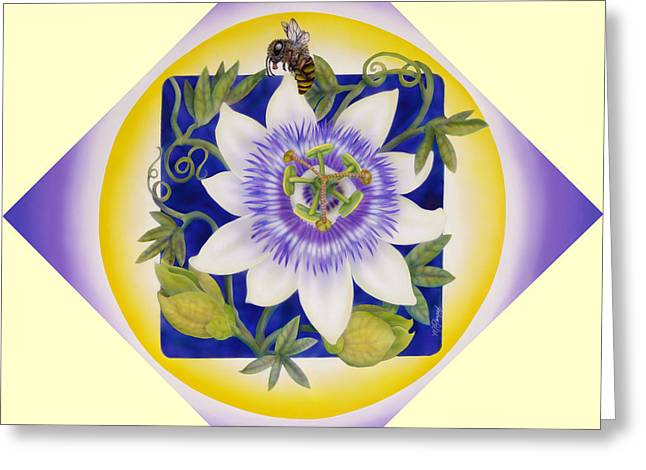 Bee And Passionflower Greeting Card