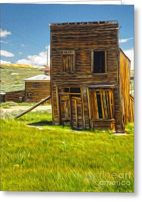 Bodie Ghost Town - Bent House 02 Greeting Card by Gregory Dyer
