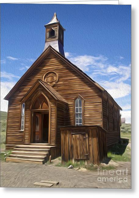 Bodie Ghost Town - Church 01 Greeting Card by Gregory Dyer
