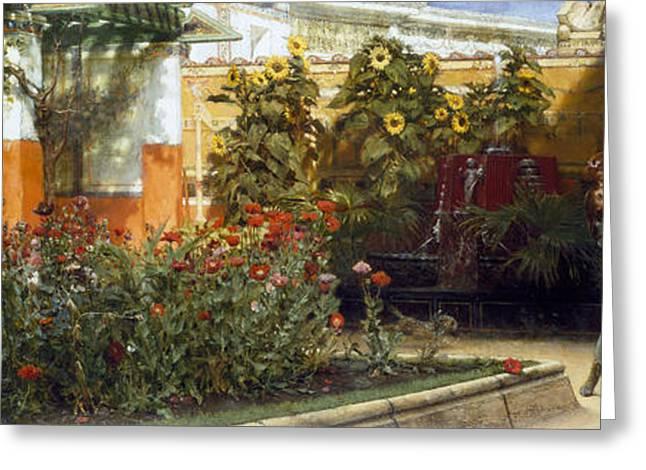 Corner Of A Roman Garden Greeting Card by Sir Lawrence Alma-Tadema