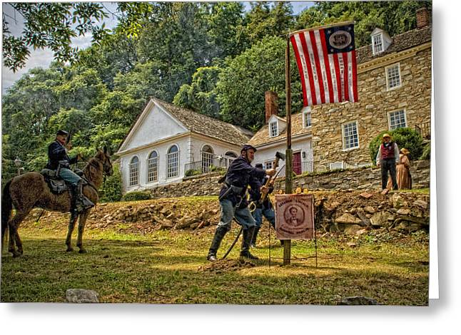 Cutting Down The Yankee Flag Pole Greeting Card by Boyd Alexander
