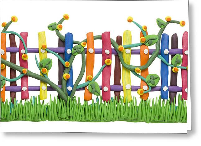 Fragment Of The Village Fence And Flowers Greeting Card