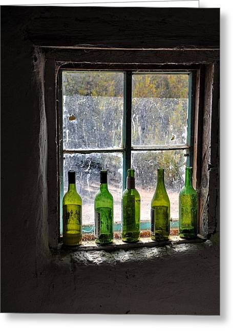 Green Bottles In Window Greeting Card