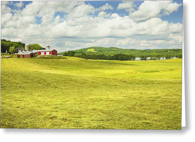Hay Harvesting In Field Outside Red Barn Maine Greeting Card by Keith Webber Jr