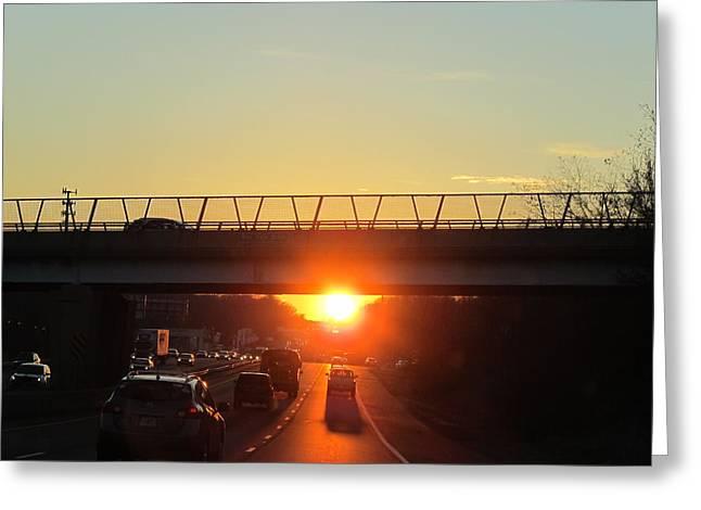 Highway Sunset Greeting Card by Valia Bradshaw