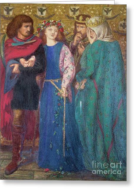 Horatio Discovering The Madness Of Ophelia  Greeting Card by Dante Charles Gabriel Rossetti