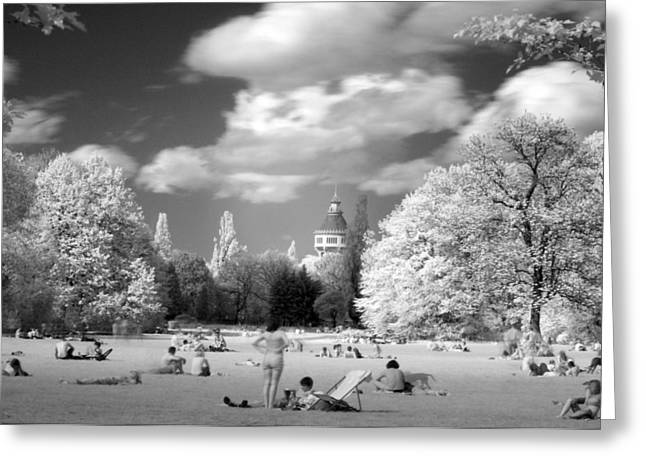 Greeting Card featuring the photograph  In Park by Odon Czintos