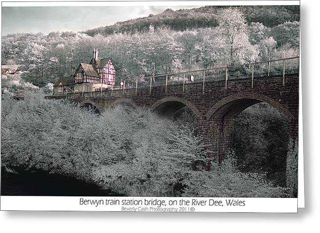 Infrared Train Station Bridge Greeting Card