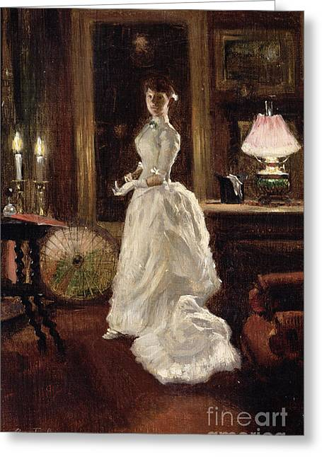Interior Scene With A Lady In A White Evening Dress  Greeting Card by Paul Fischer
