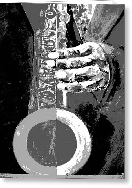 Jazz I - A Study Of The Grayscale Greeting Card by Forartsake Studio