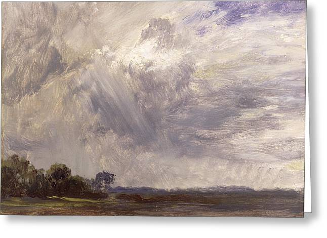 Landscape With Grey Windy Sky Greeting Card