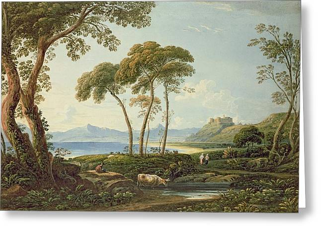 Landscape With Harlech Castle Greeting Card by John Varley
