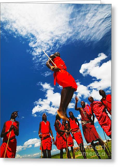 Masai Warriors Dancing Traditional Jumps Greeting Card by Anna Om