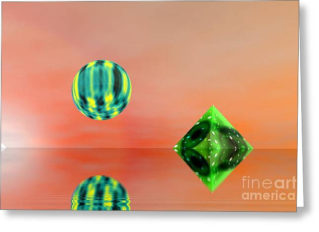 Planet And Piramid Greeting Card by Odon Czintos