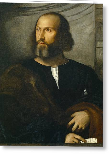 Portrait Of A Bearded Man Greeting Card by Titian