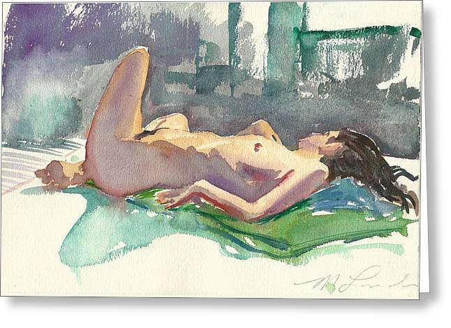Reclining Nude Greeting Card by Mark Lunde