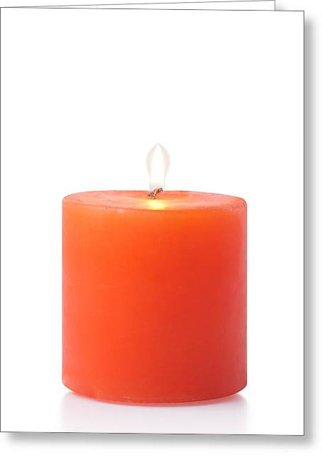 Red Candle Greeting Card by Atiketta Sangasaeng