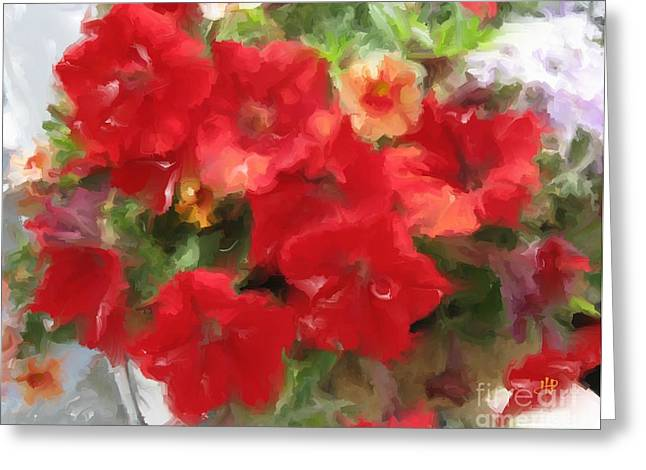 Red Petunia Greeting Card by Hai Pham