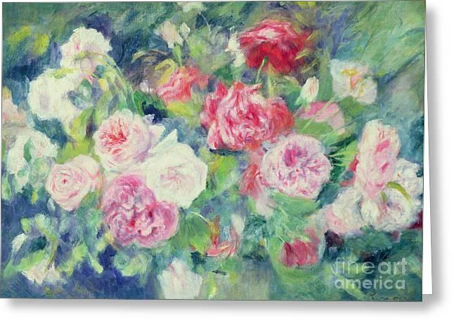 Roses Greeting Card by Pierre Auguste Renoir