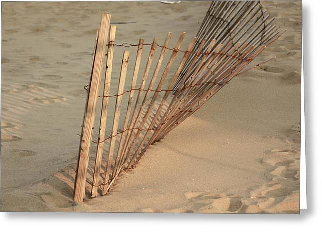 Sandy Beach Fence Greeting Card by Ann Murphy