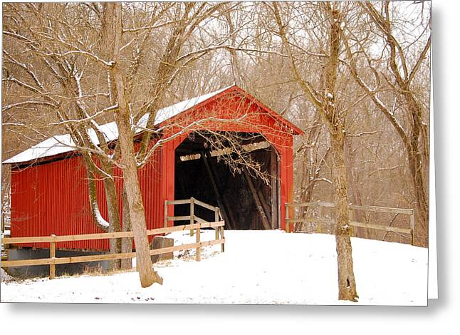 Greeting Card featuring the photograph  Sandy Creek Cover Bridge  by Peggy Franz