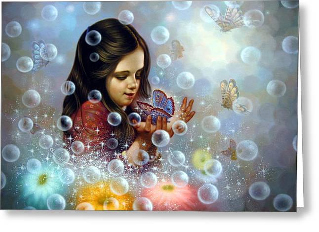 Soap Bubble Girl 2 Greeting Card