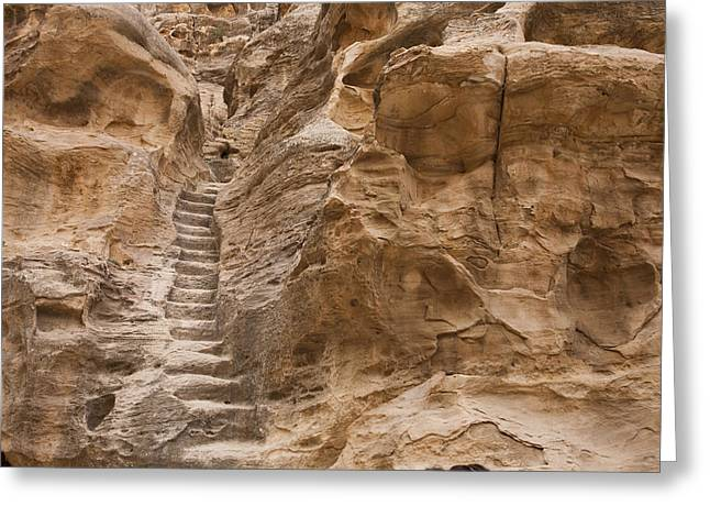 Stairs Lead Up A Rock Face In Little Greeting Card
