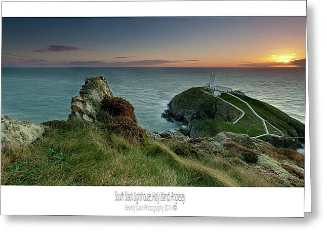 Greeting Card featuring the photograph  Sunset At South Stack Lighthouse by Beverly Cash