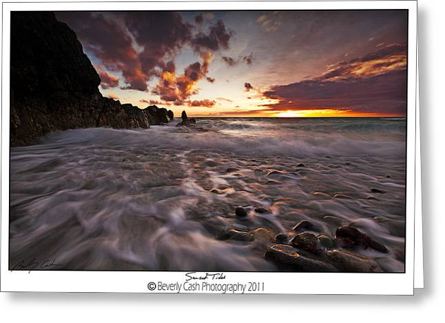 Sunset Tides - Porth Swtan Greeting Card by Beverly Cash