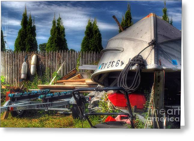 Greeting Card featuring the photograph  The Boatyard by Joann Vitali
