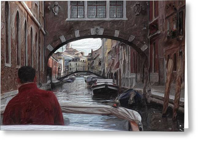 Venice Canal Digital Oil Painting Greeting Card
