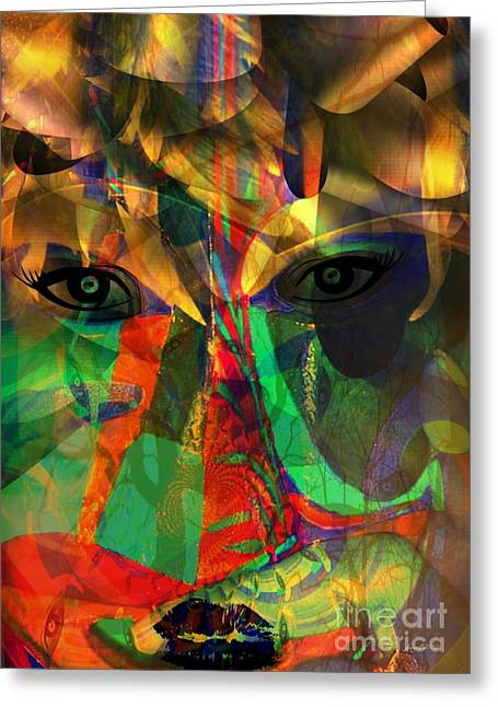 Viewing When Light Is On Greeting Card by Fania Simon