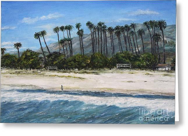 Walk On The Beach Greeting Card by Danuta Bennett