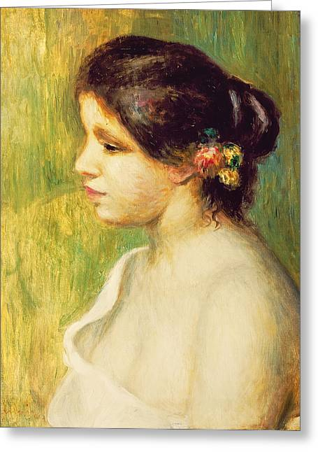 Young Woman With Flowers At Her Ear Greeting Card by Pierre Auguste Renoir