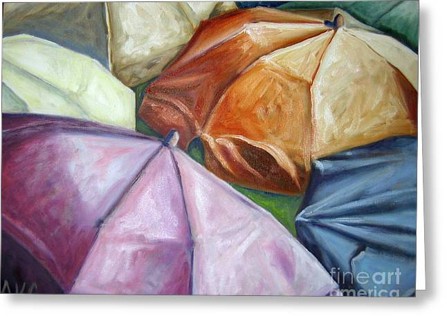 Greeting Card featuring the painting 01132 Beach Umbrellas by AnneKarin Glass