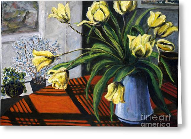 Greeting Card featuring the painting 01218 Yellow Tulips by AnneKarin Glass