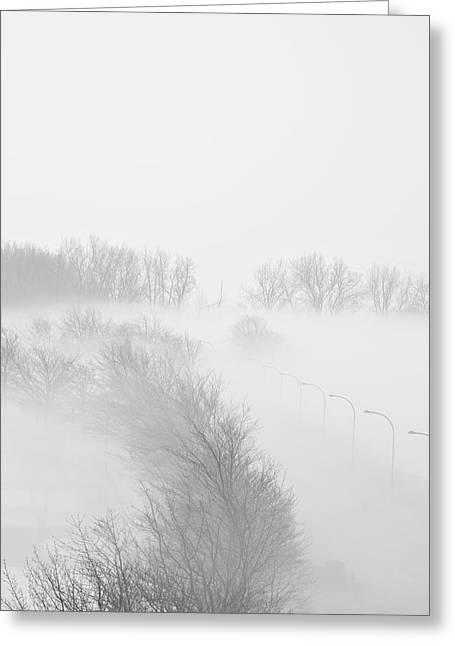 023 Buffalo Ny Weather Fog Series Greeting Card by Michael Frank Jr