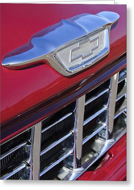 1955 Chevrolet Pickup Truck Grille Emblem Greeting Card by Jill Reger