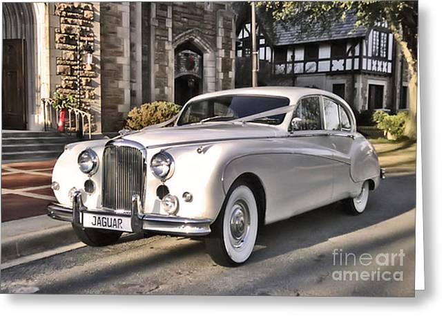 Greeting Card featuring the photograph 1959 Jaguar by Elizabeth Coats