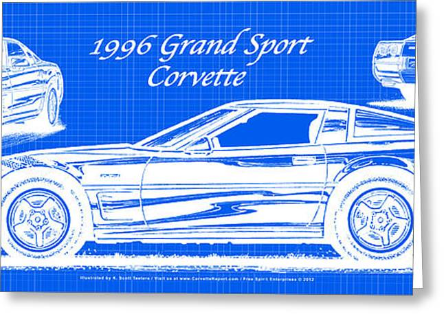 1996 Grand Sport Corvette Blueprint Greeting Card