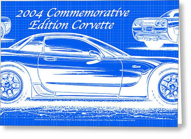 2004 Commemorative Edition Corvette Blueprint Greeting Card